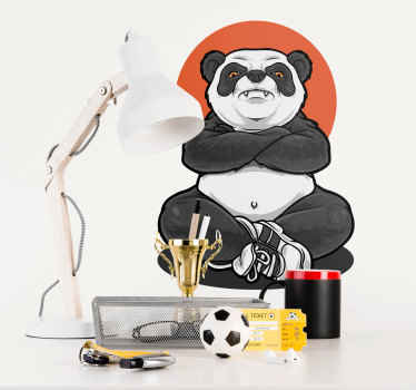 Beautify the room of your kid with this fun and interesting design sticker of a panda  animal illustrated to be a thug. Original and easy to apply.