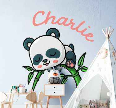 Decorative children bedroom sticker design of a panda on a bamboo tree. The design is easy to apply, durable and available in any size required.