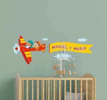 Customize the name of your kids on this decorative airplane sticker with two kids flying the airplane. The design is customizable with two names.