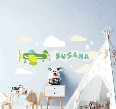 Personalize the room of your kid with this illustrative airplane with cloud and star decal.  It is easy to apply and available in any size required.