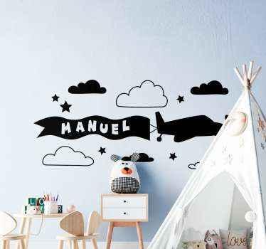 Decoratieve illustratieve gepersonaliseerde zelfklevende sticker van vliegtuig met wolk en sterren. Het is gemakkelijk aan te brengen en verkrijgbaar in elke gewenste maat.