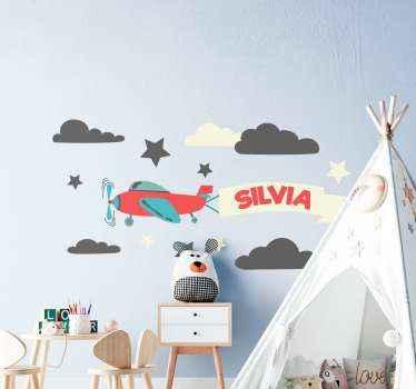 Dekorative illustrative personalisierte Wandtattoo des flugzeugs. Das Design eignet sich zur dekoration des kinderzimmers und ist sehr einfach anzuwenden.