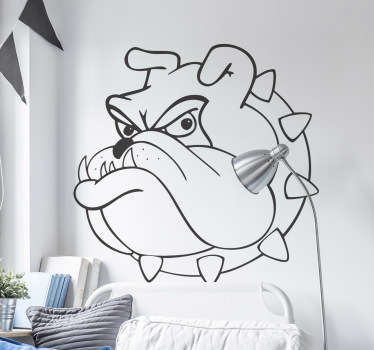 Wall Stickers - Illustration of a grumpy bull dog. Ideal for adding some character to any area. Available in various colours and sizes.