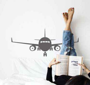 Decorative travel iconic sticker design of an airplane. This design can be decorated on any flat surface you want. It is original and durable.