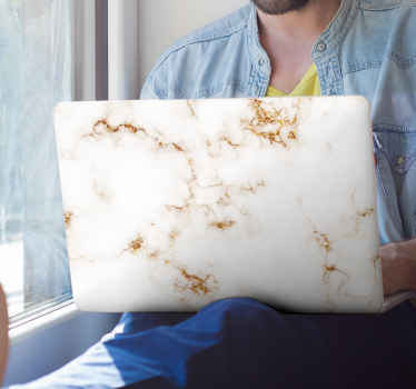 Golden and white marble laptop skins decal. With our original decorative laptop skin wrap sticker you can decorate your laptop in the style you want.