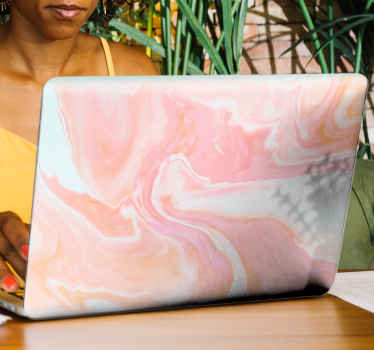 Decorative laptop skin decal design. Lovely design imitating a pink marble texture with abstract theme.. Easy to apply and self adhesive.