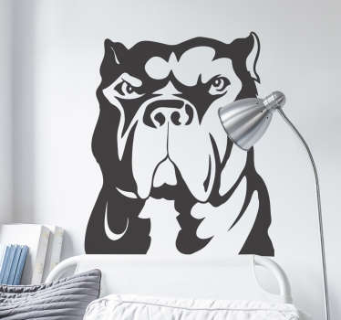 Wall Stickers - Illustration of an agressive pitbull dog. Ideal for dog lovers. Available in various colours and sizes.