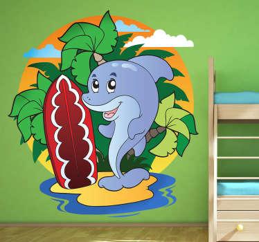 Naklejka dla dzieci delfin surfer
