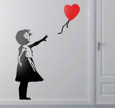 Flicka med röd hjärta ballong silhuett dekal