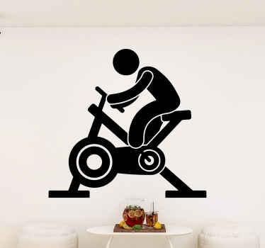 エアロバイクフィットネスの人々のステッカー。あなたはどんな目的のためにでもスペースにデザインを飾ることができます。色はカスタマイズ可能で、簡単に塗ることができます。