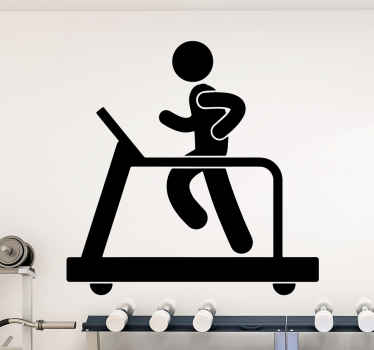 Wonderful sticker with the illustration of a person on a walking machine to decorate and inspire the room, gym or outside of your home.