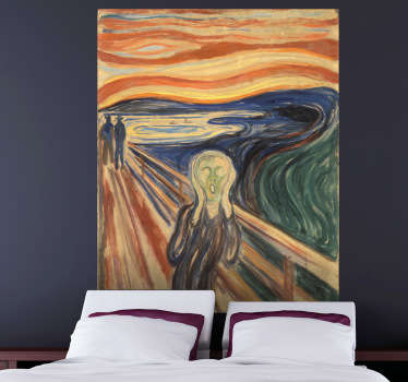 Decal of the tragic painting by the Norwegian expressionist, Edvard Munch.  Great sticker to decorate your home and make it look more  artistic.