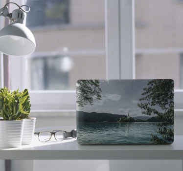 Cover the surface of your laptop with this amazing Bled landscape laptop vinyl skins decal showing lake with mountains. Easy to apply and durable.