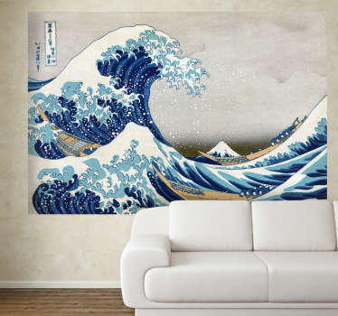 Den stora vågan av kanagawa väggmålning