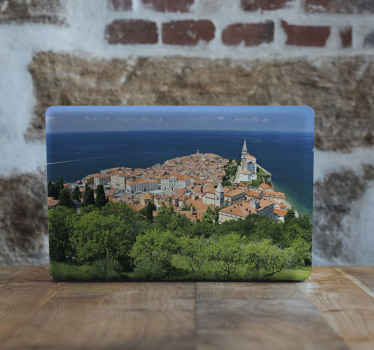 Beautiful Piran landscape view decal for laptop surface. Cover the entire surface of your laptop in this lovely design showing the view of Piran.