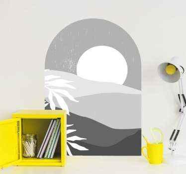 Original vinilo para salón o dormitorio con puesta de sol en tonos blanco y gris con el que podrás decorar tu casa ¡Envío exprés1