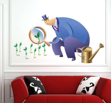 Funny sticker of a typical looking banker looking at green sprouting plants through a giant magnifying glass.