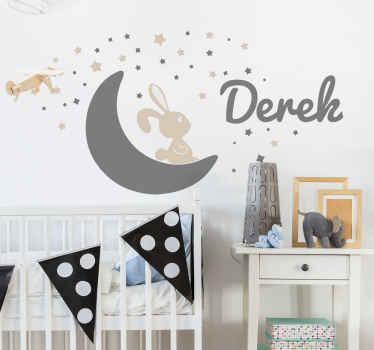 Leuk decoratieve konijn op maan naamsticker. Fantasie ontwerp om de kinderkamer of de speelruimte van kinderen te versieren.