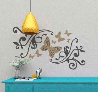 Vinilo de mariposas elegantes con flores ornamentales para que decores tu salón, comedor o cuarto de forma exclusiva ¡Descuentos disponibles!