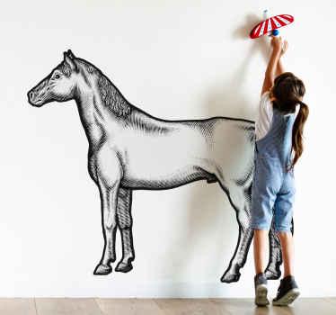 Samolepky na zeď s realistickým koněm, ideální pro vaši ložnici. Snadno použitelné, vyrobené z vysoce kvalitního vinylu. 100% spokojenost.