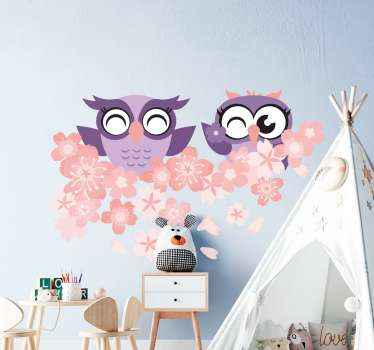 Decorative owl with cherry flower wall sticker. This design can be used to decorate any part of a house and it is easy to stick on surface.