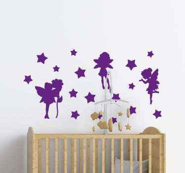 Stelle brillanti con sticker da muro di angelo fata per la decorazione della camera dei bambini. Il colore è personalizzabile ed è originale. Facile da applicare e adesivo.