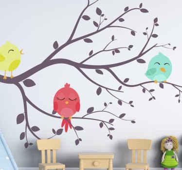 Vinilo infantil de árbol con pájaros de colores sería increíble para embellecer la habitación de los niños pequeños ¡Compra online!