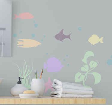 Vinilo baño de peces submarinos de colores para decoración de baños y otros espacios de una casa. Elige medidas ¡Envío exprés!
