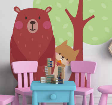 Suitable animal sticker for children bedroom. The design illustrates friendship habitation of squirrel and bear in the jungle.