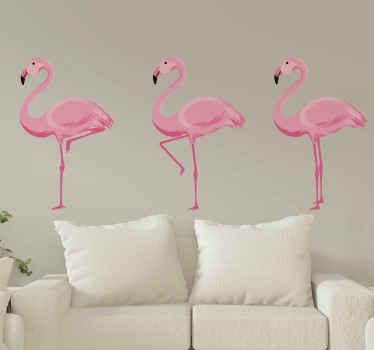Decoratieve roze flamingo's vogel muursticker voor woonkamer decoratie. Het is gemakkelijk aan te brengen en zelfklevend. Verkrijgbaar in elke gewenste maat.