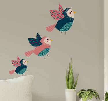 Vinilo infantil de pájaros de colores dulces para resaltar la decoración del dormitorio de los niños. Alta calidad ¡Descuentos disponibles!
