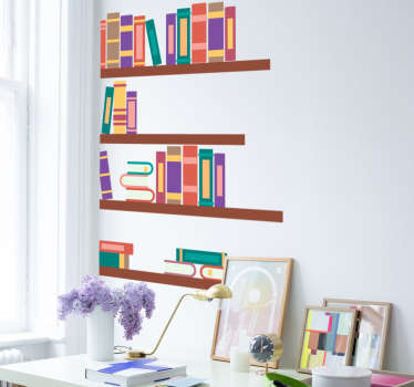 Sticker illustrating a library shelf. Fantastic decal to decorate your walls at home.