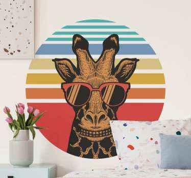 Hipster giraffe vintage stickers om elke ruimte een mooie touch en effect te geven. Een illustratief ontwerp van een giraf die een zonnebril draagt.