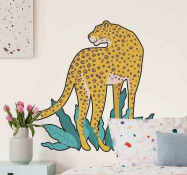 Decorative leopard animal wall art decal depicted to be on a grass land and looking behind to observe it environment for prey and enemies.