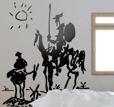 Room Stickers - Don Quixote is a 1955 sketch by Picasso of the Spanish literary hero and his sidekick Sancho Panza.