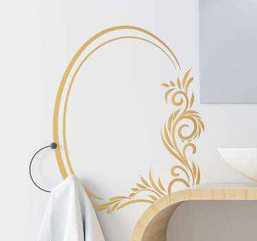 Decorative ornamental floral pattern sticker for mirror decoration and on other surface of choice. Available in any size required.
