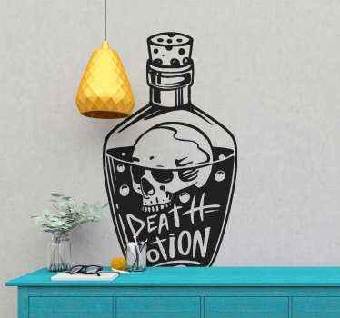 stickers vintage de poison décoratif, une illustration d'une bouteille de potion mortelle contenant un crâne, un liquide et une inscription sur le corps.