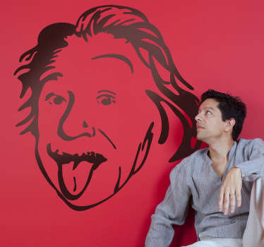 Fun sticker of the famous German mathematician, Albert Einstein sticking out his tongue. Superb decal to decorate any room at home!