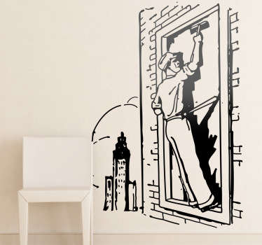 A fantastic illustration from our collection of retro wall stickers of a city window cleaner. Perfect to give your wall a new appearance!