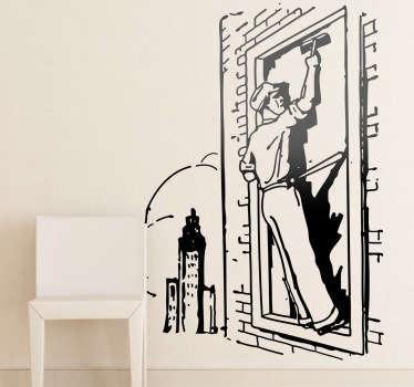 Wandtattoo Umrisse Fensterputzer