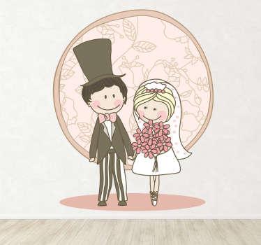 Sticker tekening huwelijk koppel