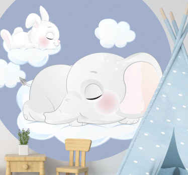 An adorable way to decorate your kid's room with this cute sleeping rabbit and elephant on clouds wall sticker. Long-lasting product.