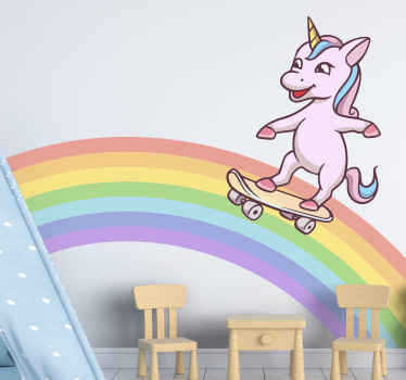 A fun and cute way to decorate your kid's room with this pink unicorn skating on rainbow wall sticker. Long-lasting product.