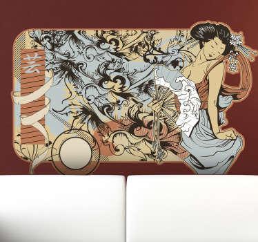 Sticker illustration moderniste Japon