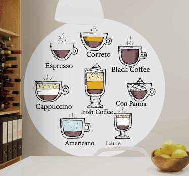 Iş için farklı türde kahve servisi etiketi. Tasarım, ev mutfağının veya yemek alanının bir restoran alanında dekore edilebilir.