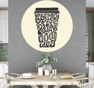Een geweldige koffiekopje sticker waarmee uw restaurant, eet- of keuken ruimte kunt versieren. Een met tekst gemaakt ontwerp dat een koffiekopje vormt.
