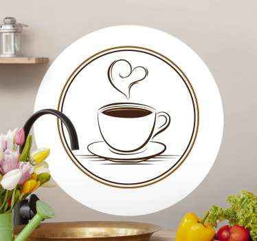 Elegant cup of coffee with heart service decal. This design can be decorated on a kitchen space in a house and on restaurant space.