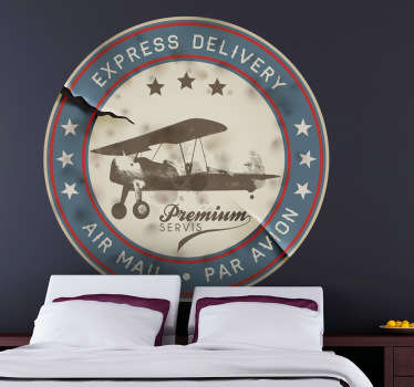 A nice airplane vintage decal from our collection of retro wall stickers illustrating a stamp from an air mail delivery agency Ideal for those that love vintage designs! Decorate your home and get rid of those empty spaces at home.