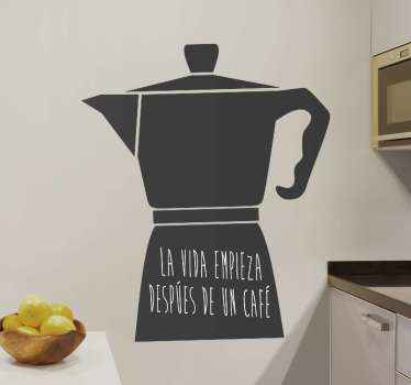 Lovely decorative coffee service sticker for restaurant and home space decoration. It is inscribed with the quote ''Life starts after coffee''.