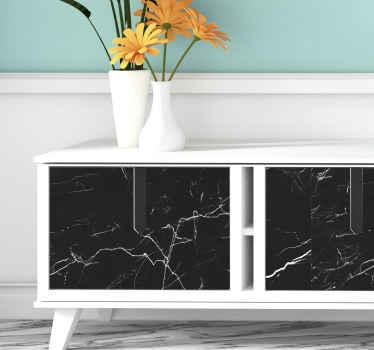 Precioso papel adhesivo para muebles de mármol negro con un diseño original. Elige las medidas que desees ¡Descuentos disponibles!